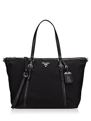 Prada Vitello Phenix Black Leather Ping Tote Handbag