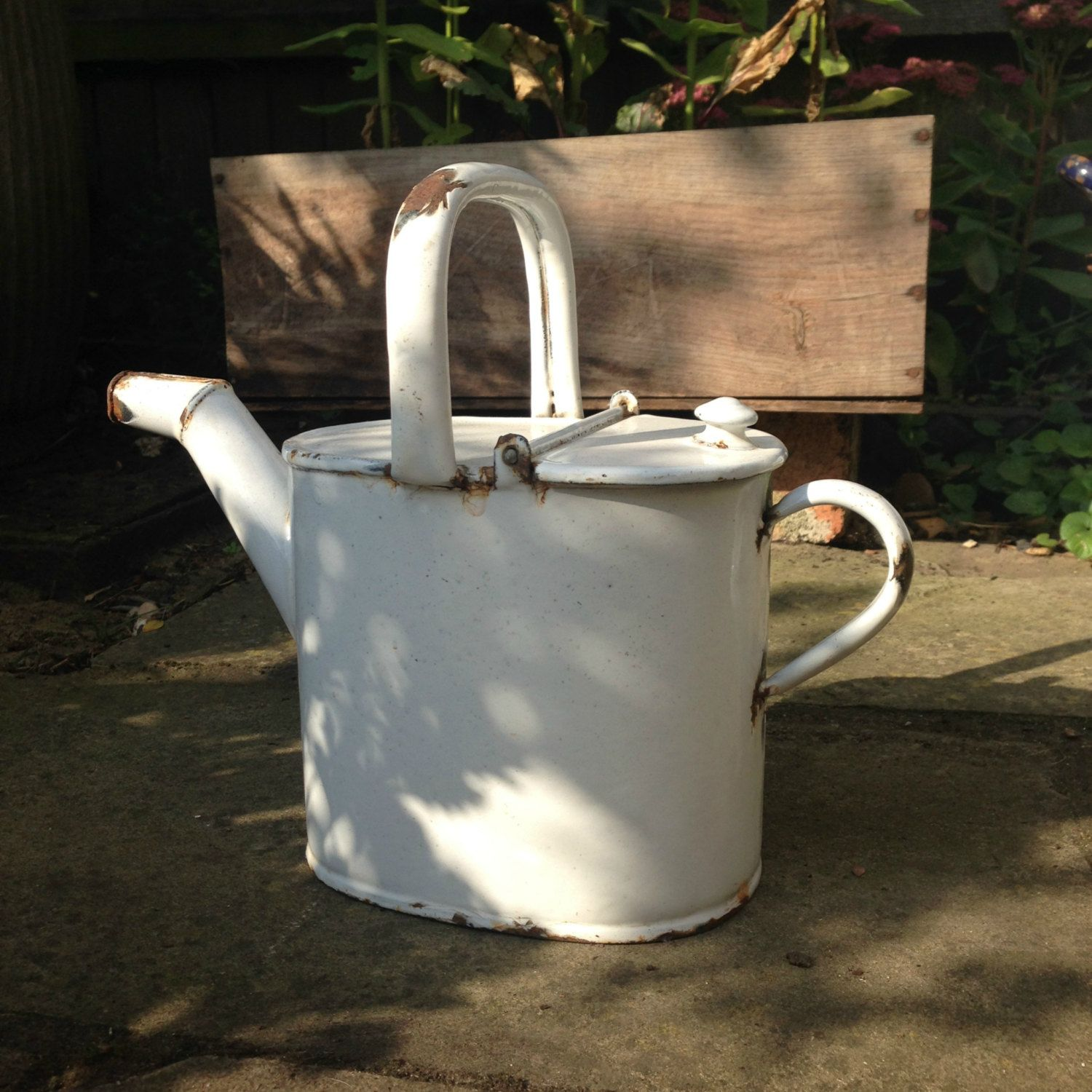 White enamel watering can, small vintage watering can, vintage wedding decor…