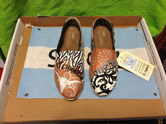 University of Texas hand painted Toms Shoes by HeartNSoleDesigns, $120.00