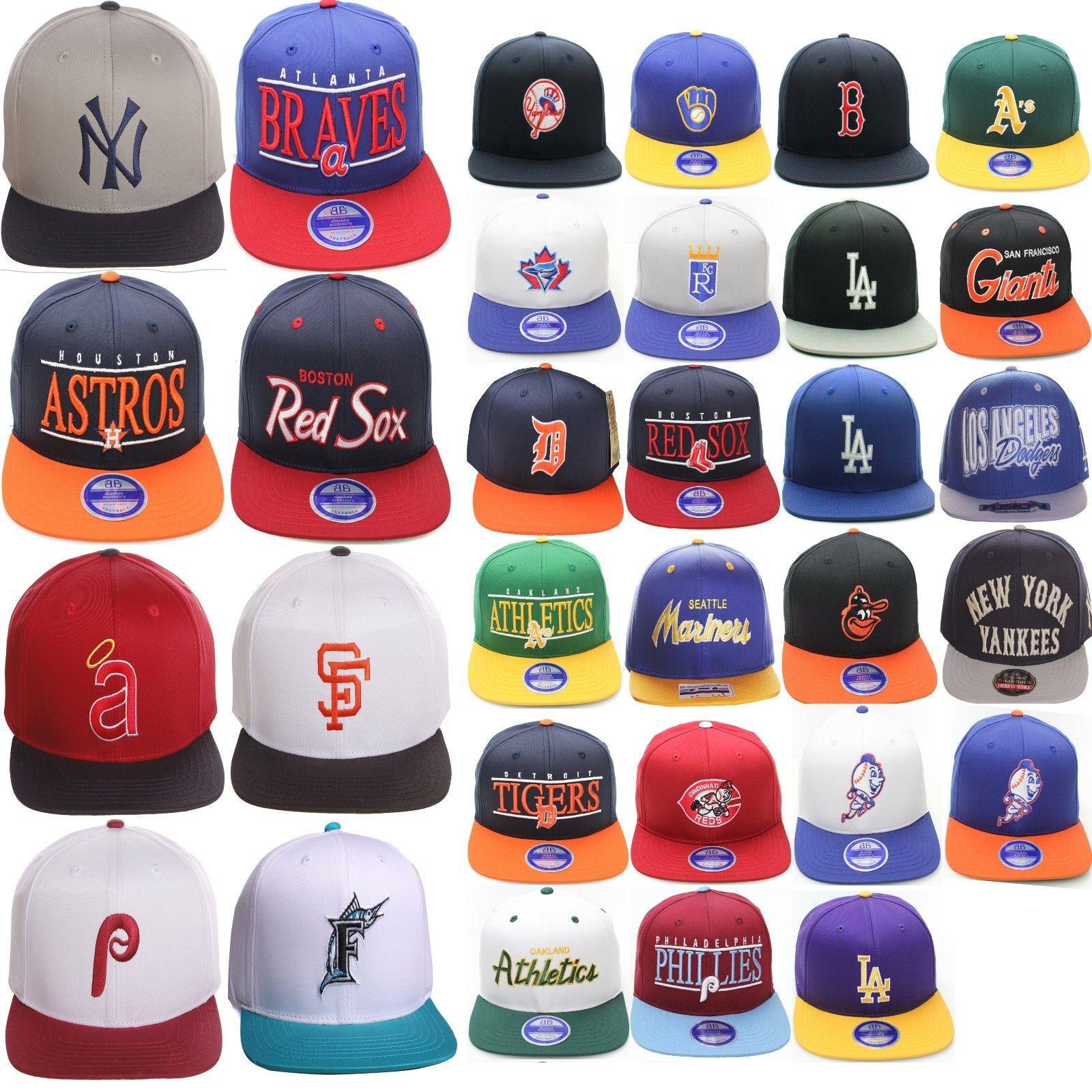 98b20160377 MLB Authentic Multiple Teams Logo Script Twill Style Flat Bill Snapback Hat  Cap