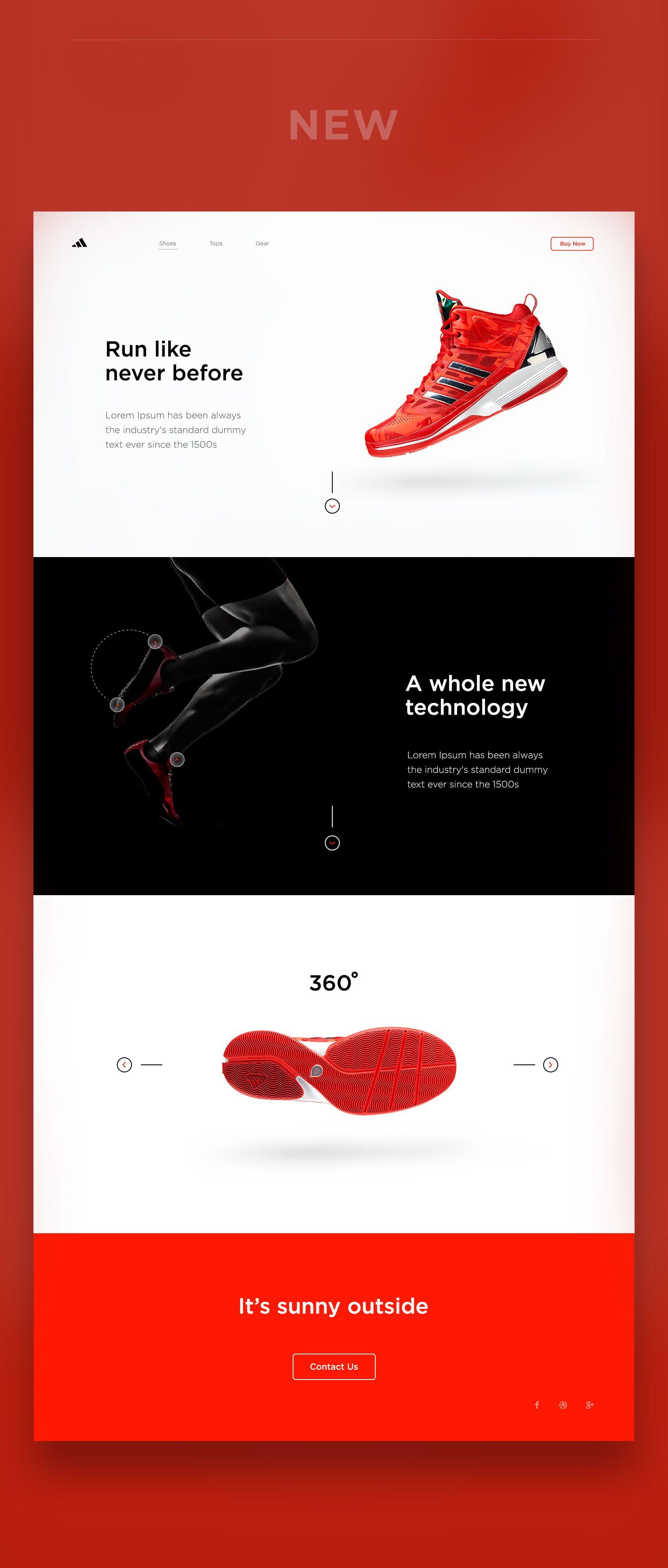 """다음 @Behance 프로젝트 확인: """"Adidas Web Concept Design"""" https://www.behance.net/gallery/46652583/Adidas-Web-Concept-Design"""