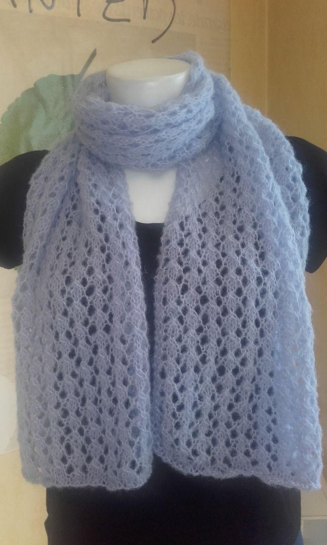 Echarpe de couleur lavande r alis e au tricot en point ajour dentelle en fil 77 alpaga et - Point de tricot ajoure pour echarpe ...