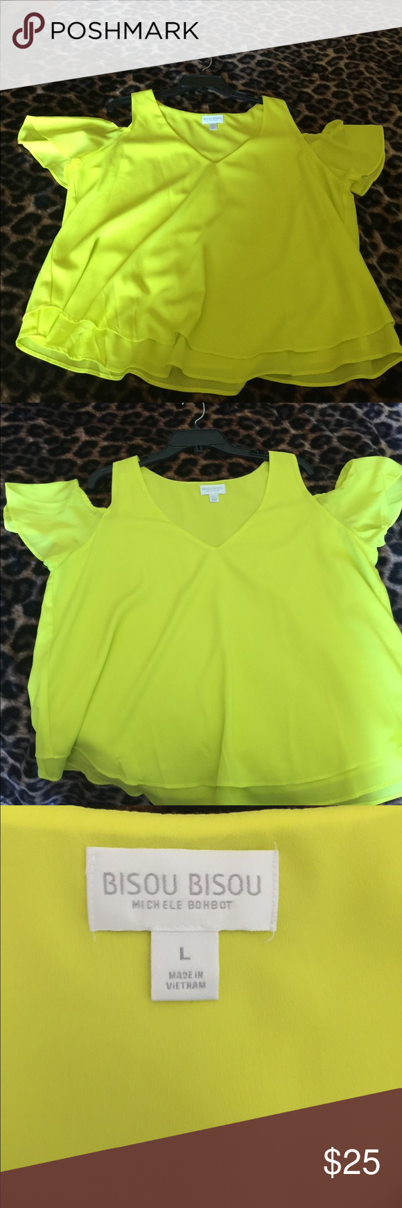 Line green cold shoulder blouse Super cute cold shoulder blouse Tops Blouses
