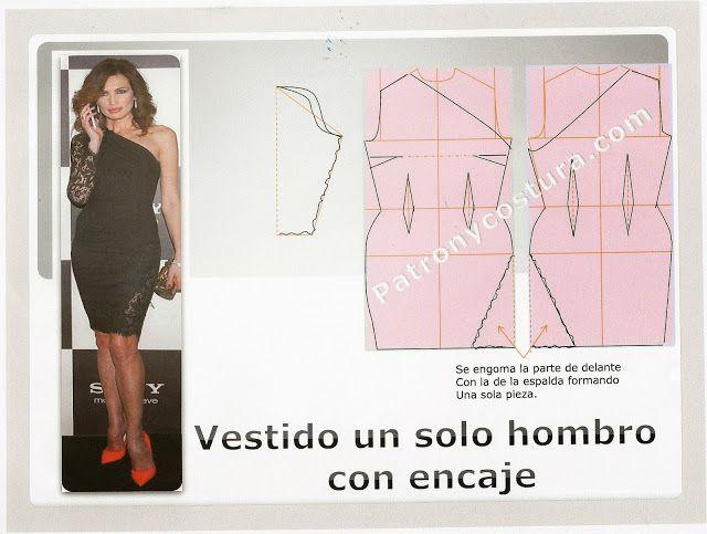 Patrón y costura : vestido con un solo hombro y aplicaciones de ...