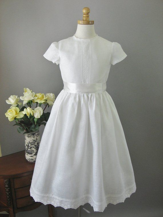 7d597a51de Irish Linen First Communion Dress - Olivia