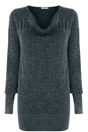 From the classic cowl neck to the relaxed longer fit of the long sleeve top, this lurex cowl neck top is a definite wardrobe essential. Pair with leggings when relaxing, or a leather mini skirt for a day out.