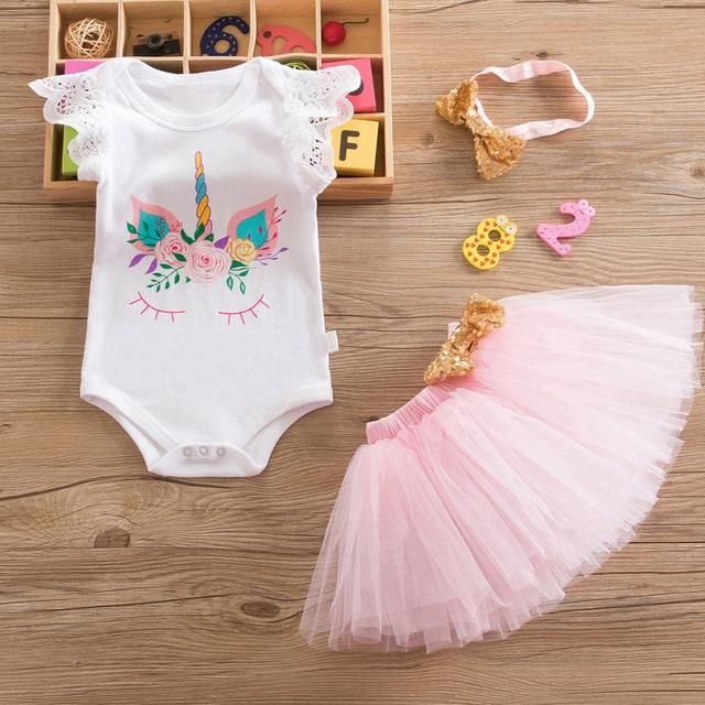 4f0432f3f Flower Party Clothes Set Baby Girl One Years First Birthday Tutu Outfits  for Girls Tulle Toddler Baby Clothing Suit