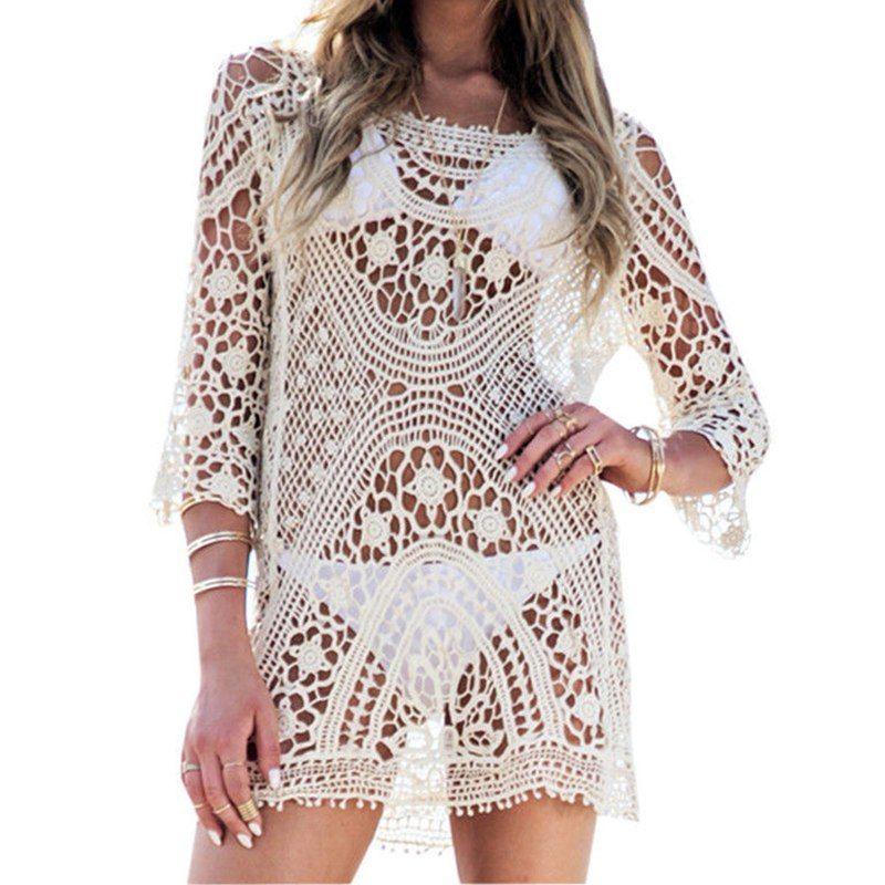 e6a62bcea605 Beach Tunic Swimwear Pareo loose Dress Lace Crochet Swimsuit Cover ...