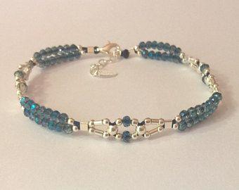 bc46a625451b Bracelet woven way link vintage 925 sterling silver and black miyuki ...