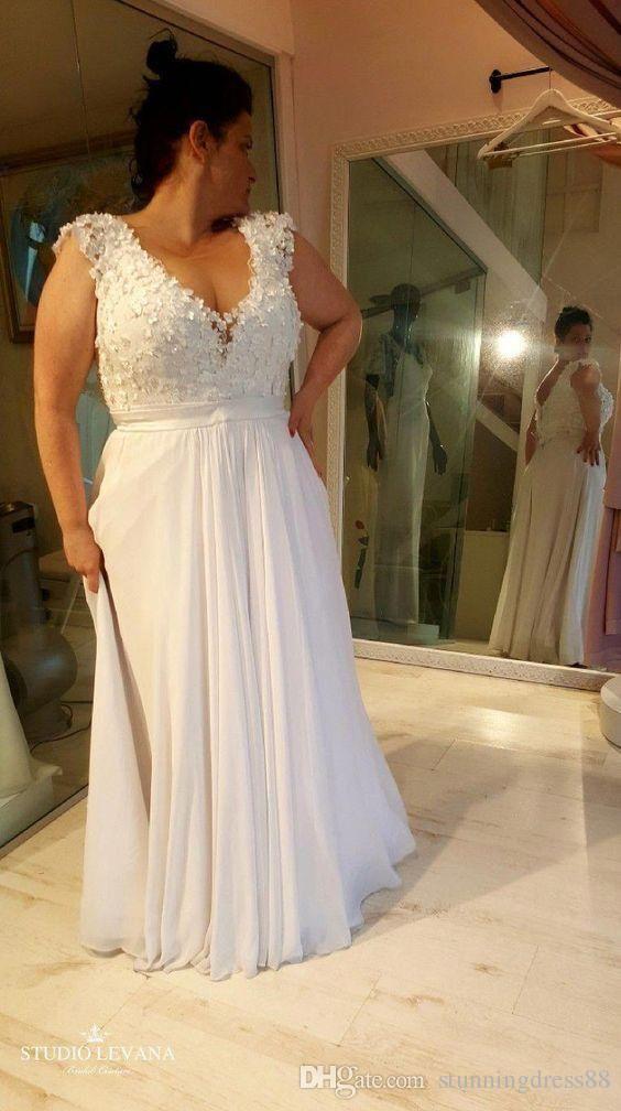 Fashion 3D Floral Flowers V neck Wedding Dresses Bridal Gown Plus size with Cap Short Sleeves Beading Sequins Chiffon Boho Wedding Dress 17