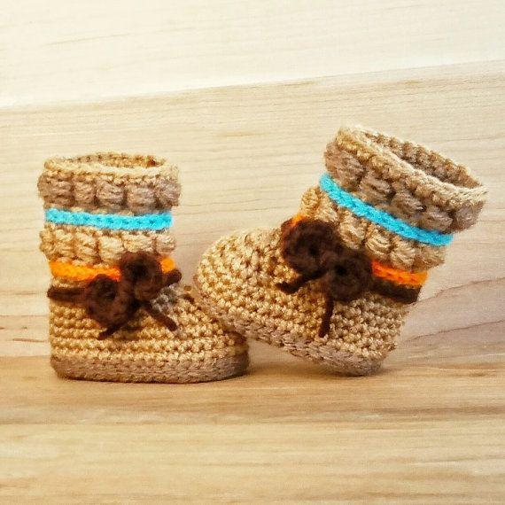 Baby Booties indianische Stiefel häkeln häkeln von BriellaSoulKids ...