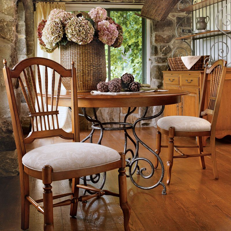 ethan allen round dining table and chairs used small wrought iron base sale craigslist