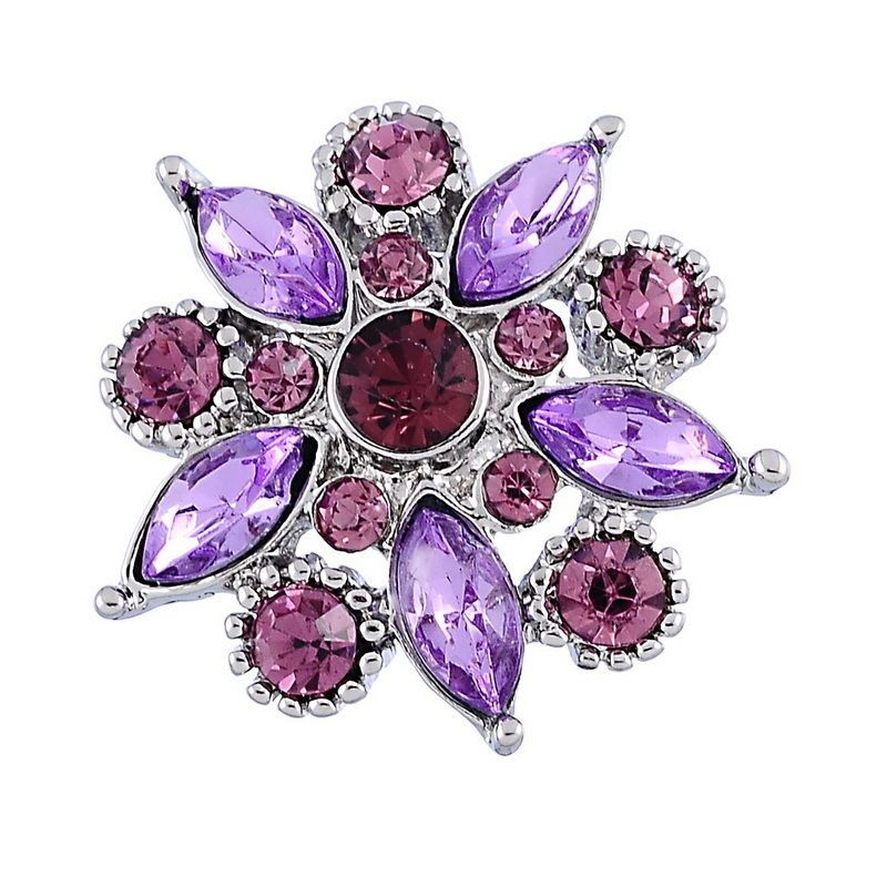 />?Snap.Chunk Button 20mm Purple Flower Charm For Ginger Snap Style Jewelry