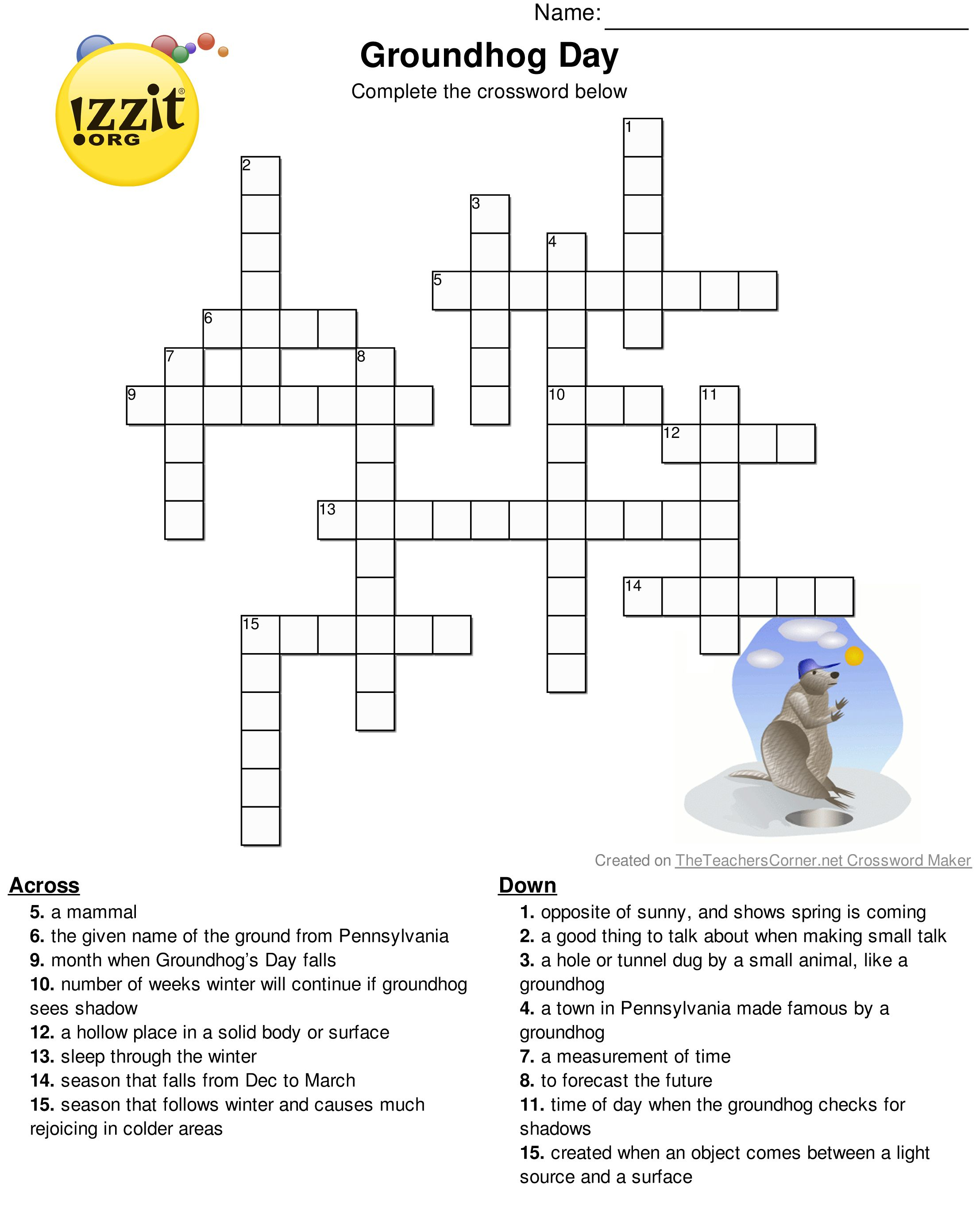 Happy groundhogs day below is a printable groundhogs day below is a printable groundhogs day crossword puzzle groundhogsday biocorpaavc Gallery