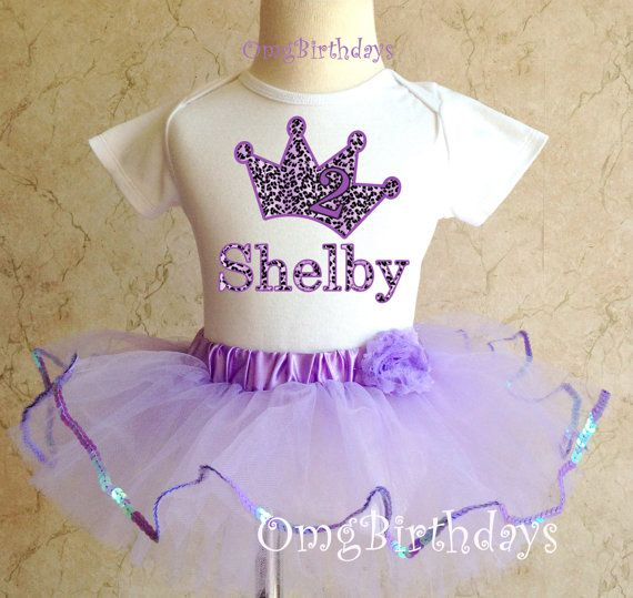 Princess Crown Purple Cupcake Girl 1st First Birthday Tutu Outfit Shirt Set