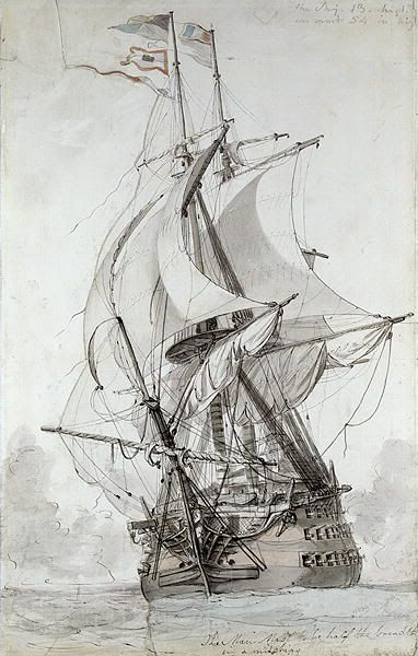 "Philip Jacques de Loutherbourg: ""La Montagne"", French line of battle ship - study sketch for ""The Battle of the First of June, 1794"""