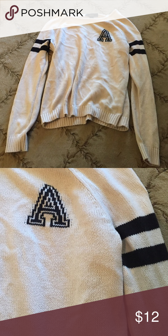 Oversized sweater, size L Over sized sweater w initial. Size L. Sweaters