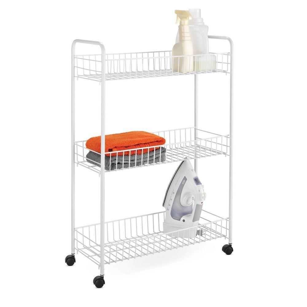 Laundry tier storage cart white utility rolling basket new