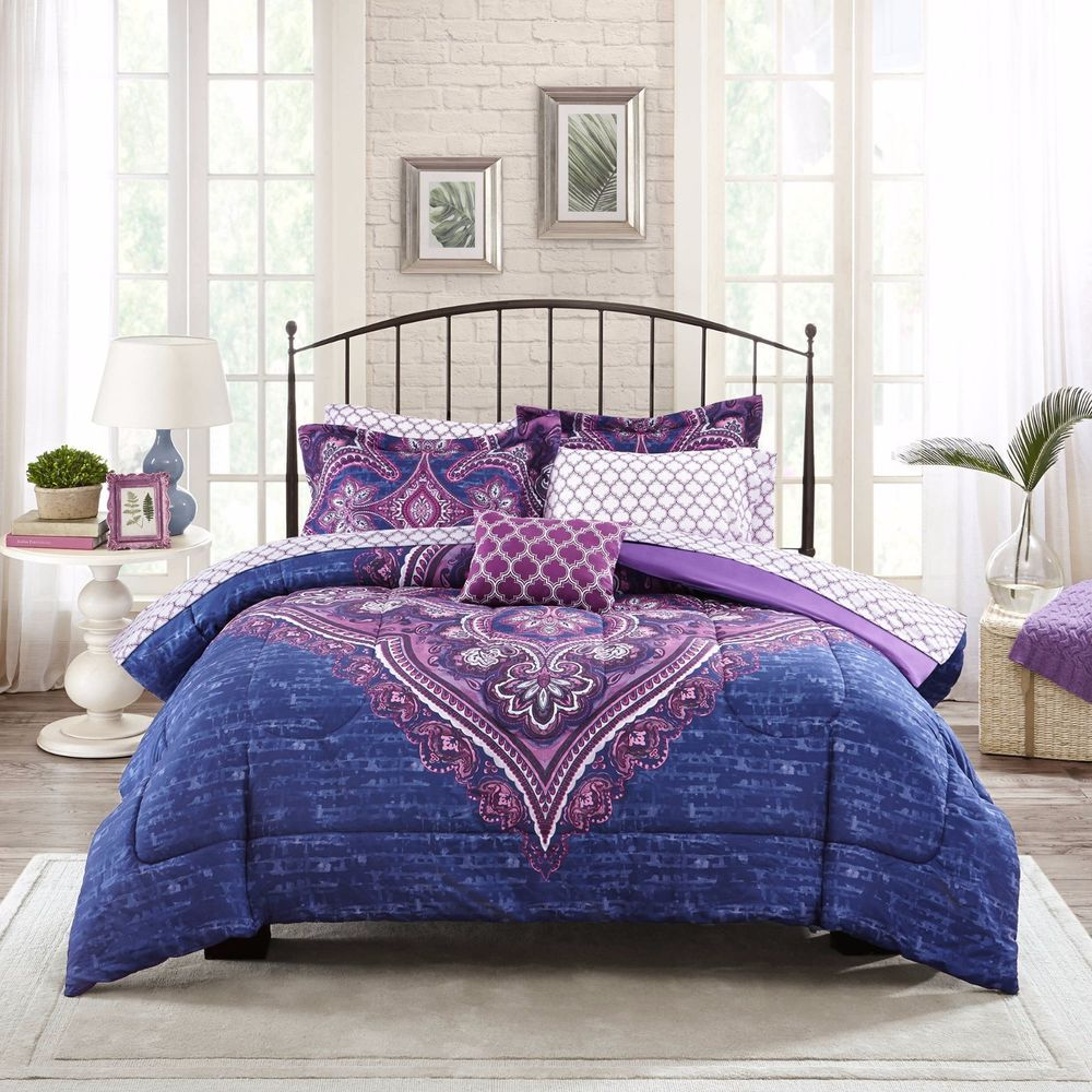 Boho Bettwäsche Bedding Set King Queen Size Mainstays Grace Medallion Purple Bed