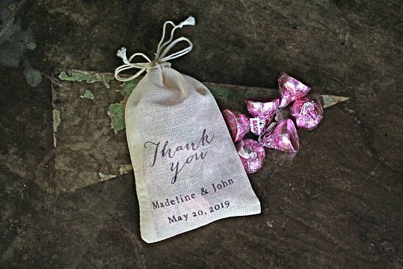 6d8a70f6a4 Personalized favor bags, set of 50 cotton favor bags, Thank You script with  names and date, cloth party favor bag, wedding, bridal shower