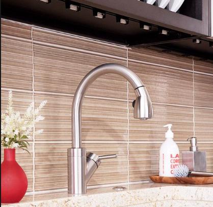 Soldier Stack Textured Tile Imagine It In A Much Softer Color With Matching G Kitchen Tiles Backsplash Kitchen Backsplash Tile Designs Glass Tile Backsplash