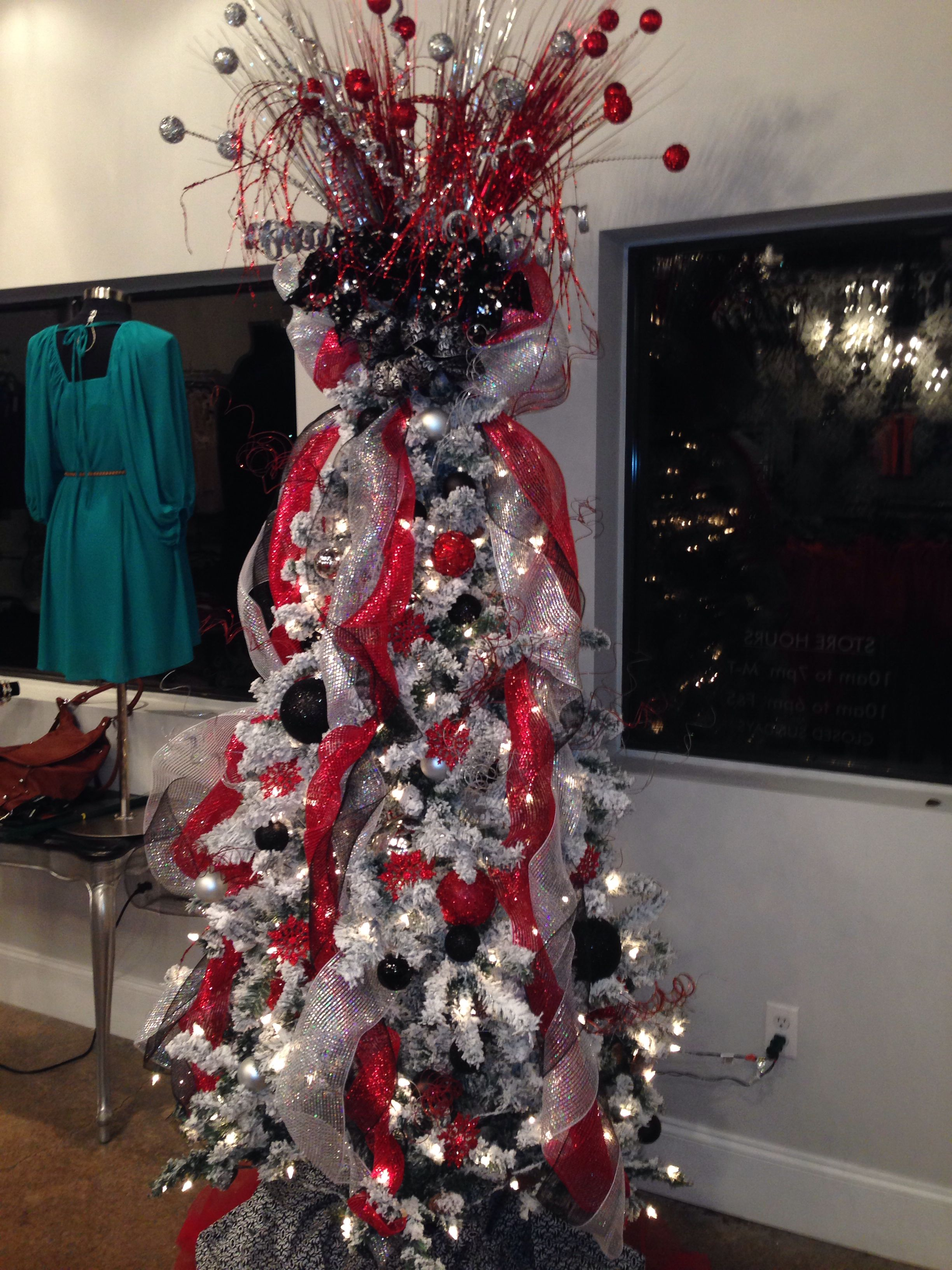 Black, red, and silver Christmas tree! | Silver christmas ...