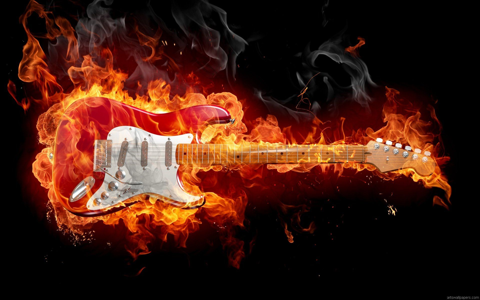 guitar fire wallpaper walldevil wallpapers 4k pinterest