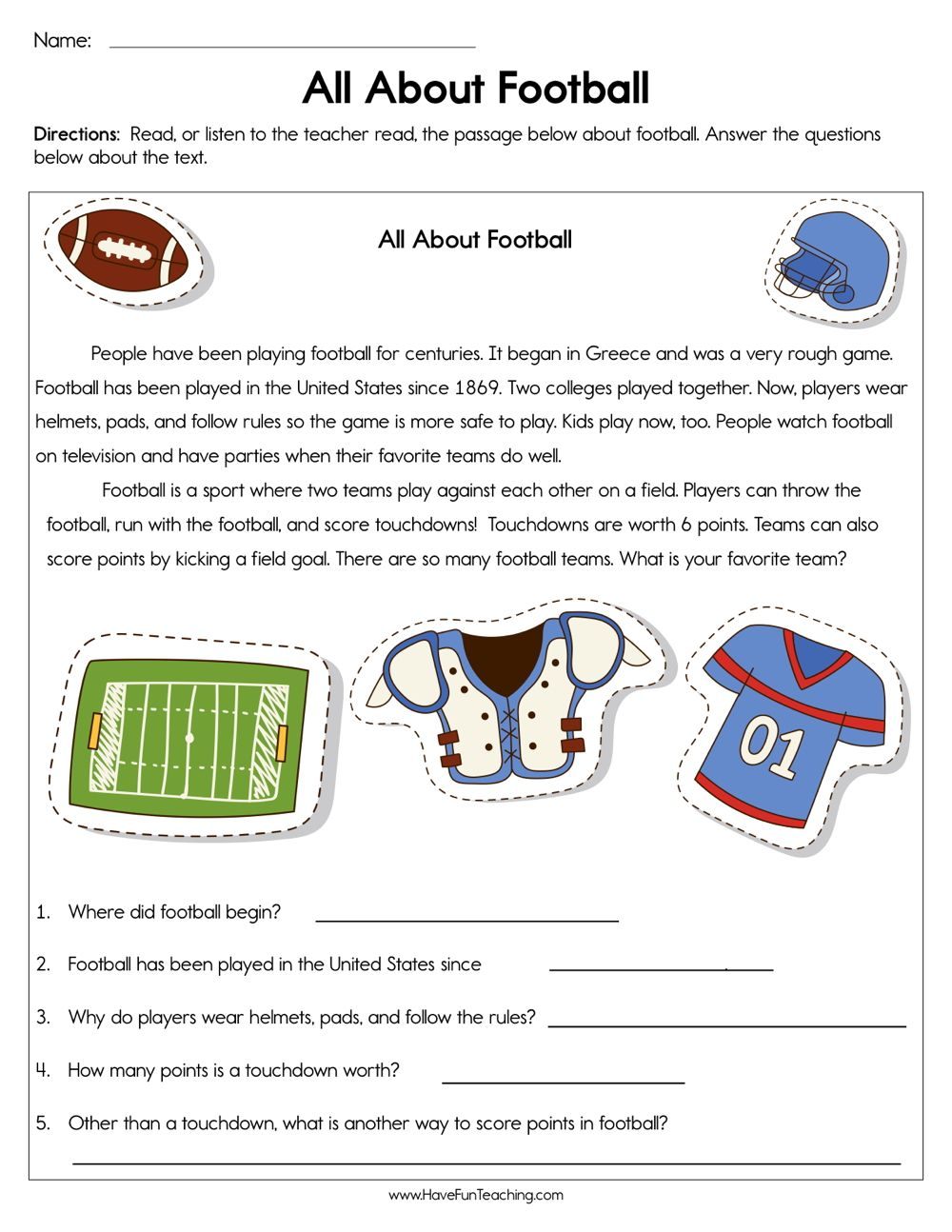 All About Football Worksheet Reading Comprehension Informational Text Graphic Organizer Comprehension Worksheets [ 1294 x 1000 Pixel ]