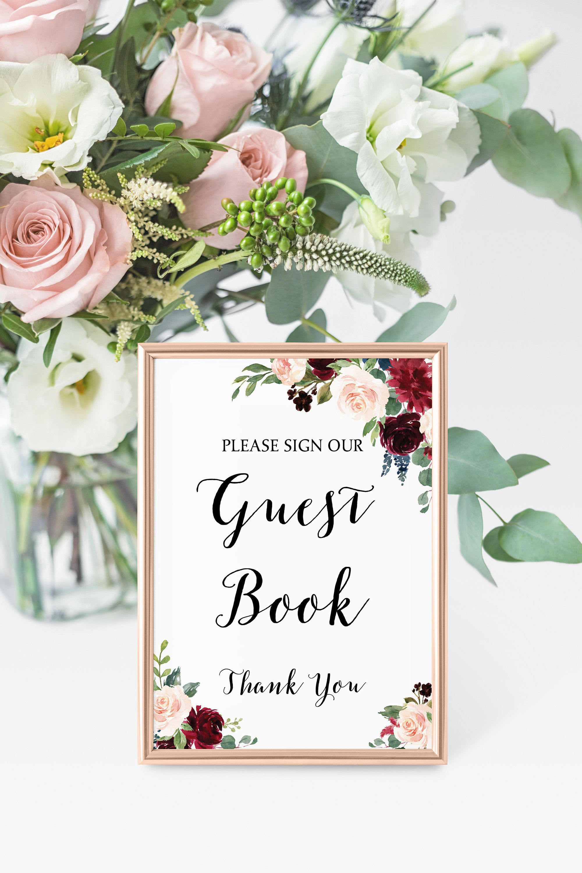 Guest Book Sign Burgundy And Navy Wedding Guest Book Printable