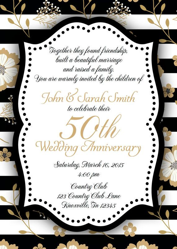 Black And Gold Th Anniversary Invitation  Gold Anniversary