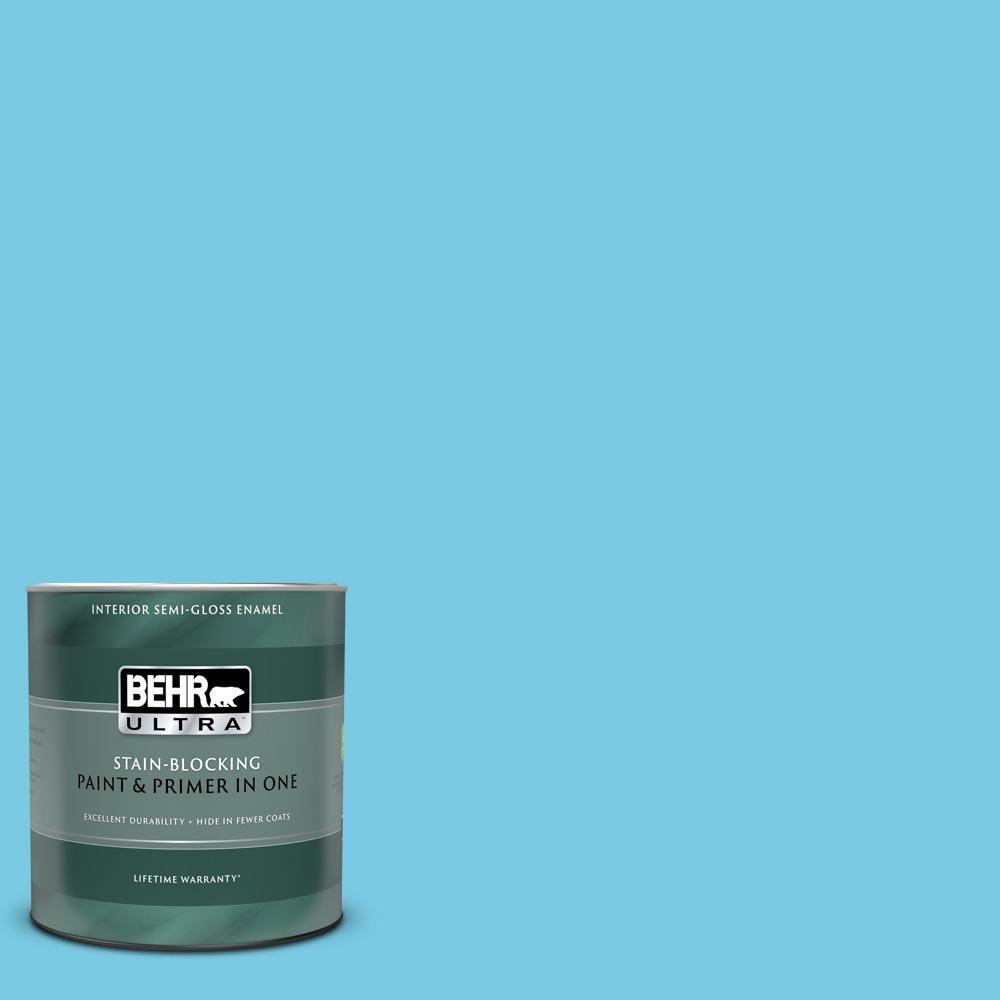 Behr Ultra 1 Qt P490 3 Big Chill Extra Durable Semi Gloss Enamel Interior Paint Primer 375004 The Home Depot Behr Ultra Interior Paint Paint Primer