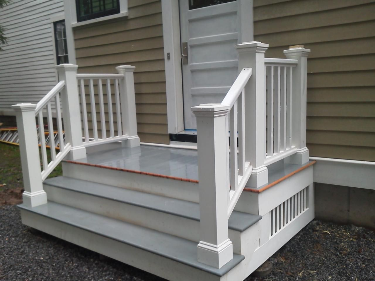 Side Door Steps Front Door Steps Front Porch Steps Patio Stairs | Premade Wooden Steps For Porch | Cedar Tone | Deck Stairs | Fiberglass | Concrete Stairs | Manufactured Homes