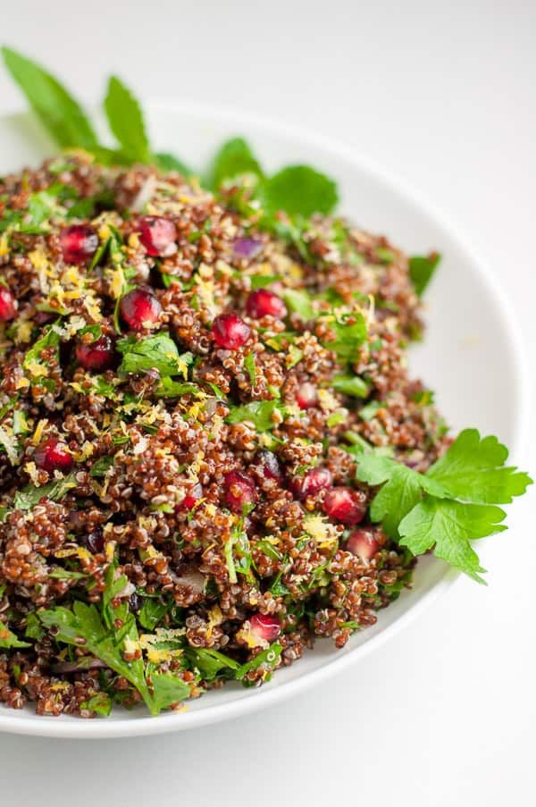 Festive Red Quinoa Tabouli with Pomegranate Festive Red Quinoa Tabouli with Pomegranate paleo