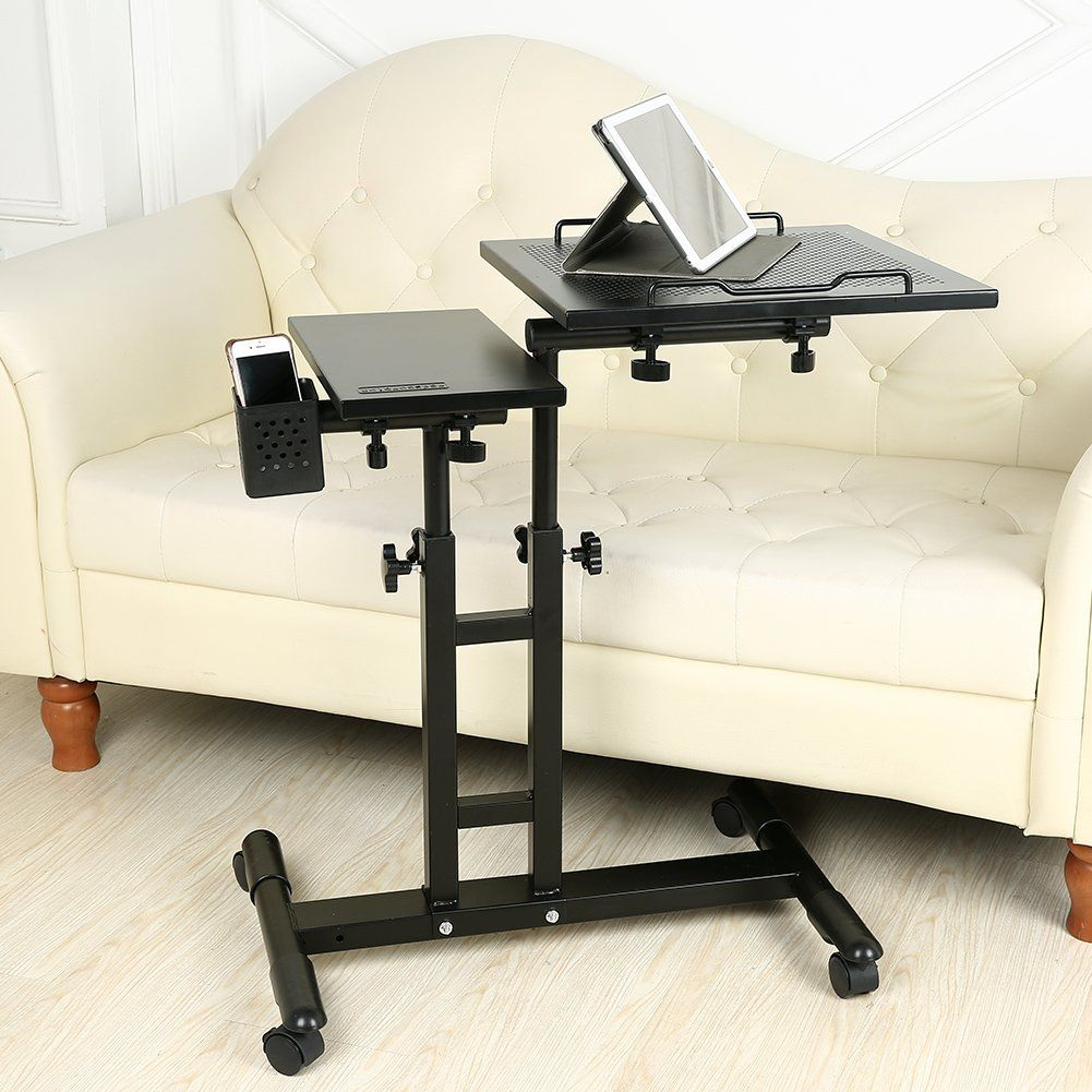 Redscorpion Adjustable Height Rolling Mobile Laptop Desk Table Computer Desk Cart Over Sofa Bed Table Black Bed Table Computer Table Table Desk