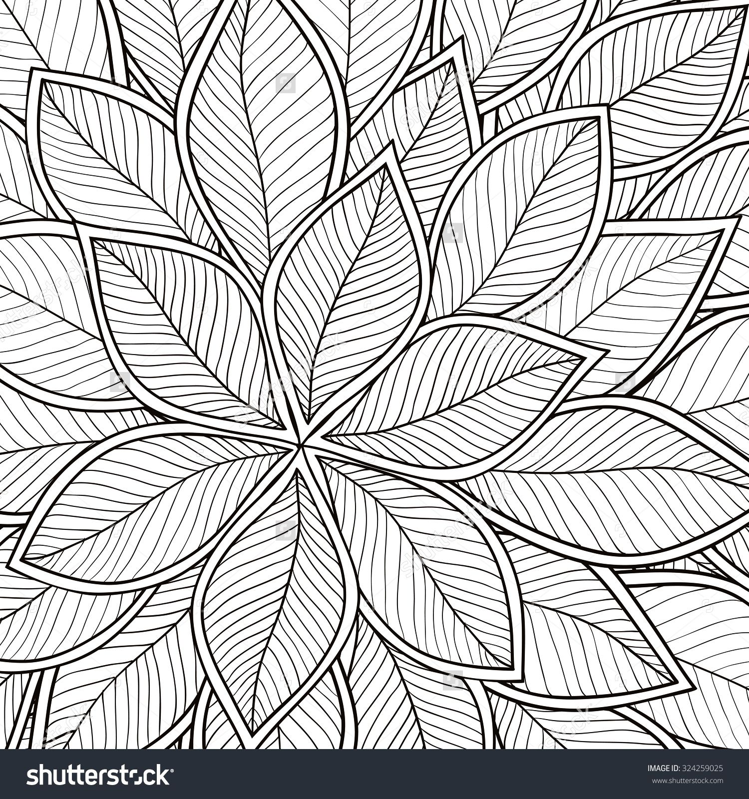 Pattern For Coloring Book Leaves Ethnic Floral Retro Doodle Tribal Design Element Black And White Background Zentangle Patterns