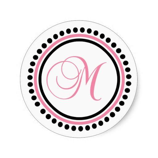 M monogram light pink black dot circle stickers