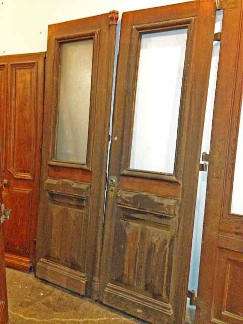 Double Door W High Relief Paneling C 1850 Old Wooden Doors Vintage Doors Double Doors
