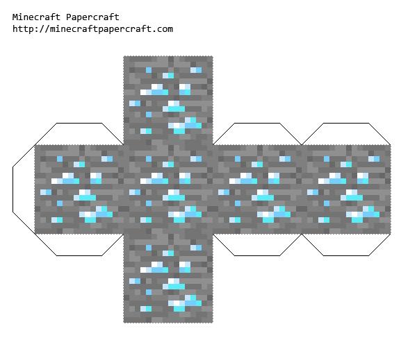 Papercraft Diamond Ore Minecraft Printables Minecraft Crafts Diy Minecraft