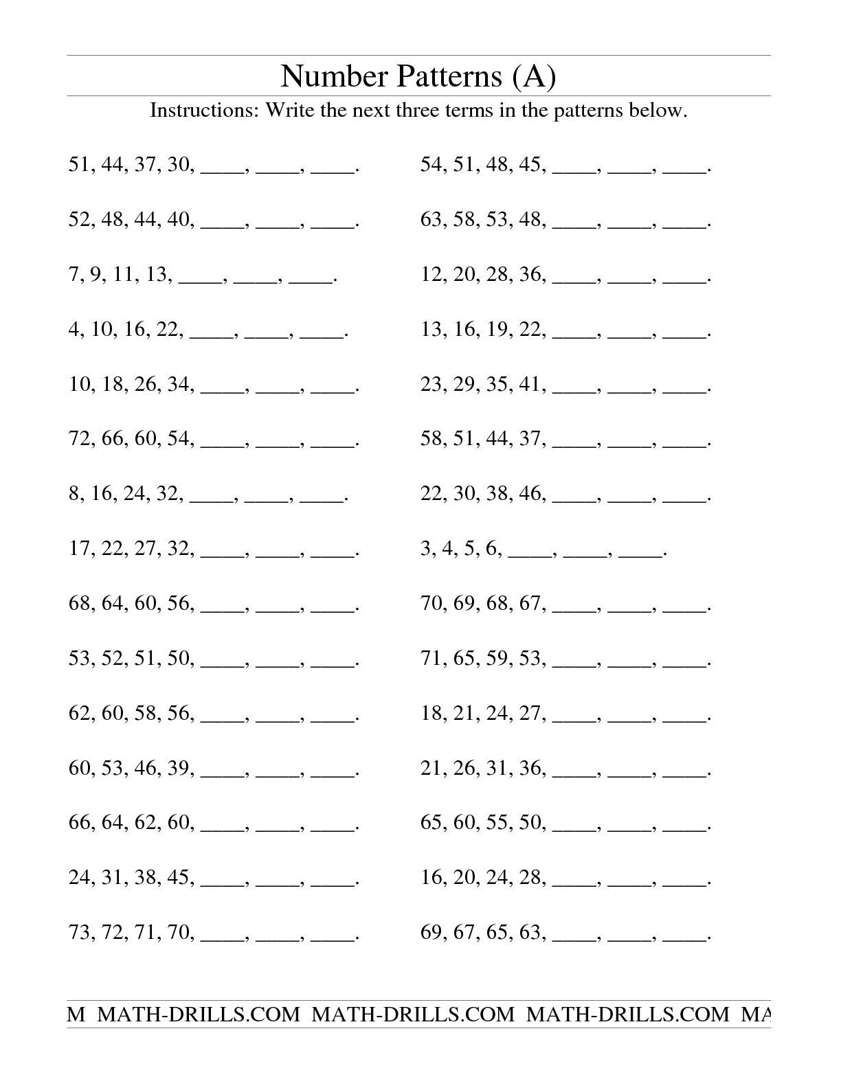 worksheet Math Patterns Worksheet the growing and shrinking number patterns a math help patterning worksheet a