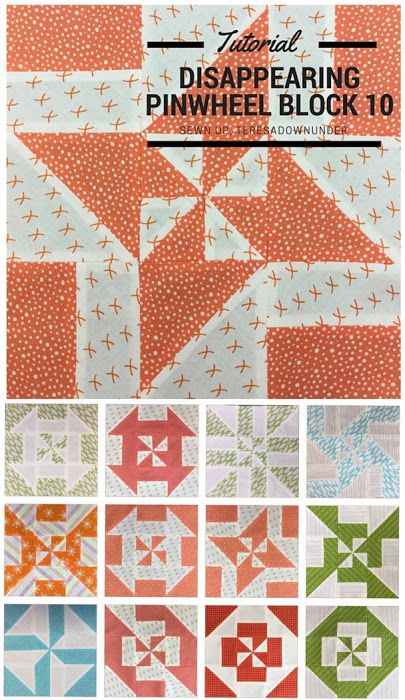 Block 10: Disappearing pinwheel quilt sampler   Pinwheel quilt ... : 10 inch quilt blocks free - Adamdwight.com