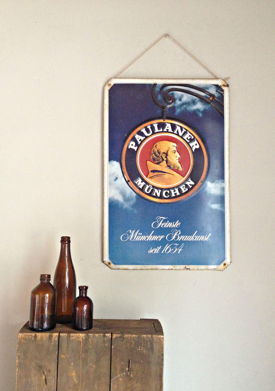 Large Vintage Tin Sign Beer Sign Metal Sign Metal Wall Decor