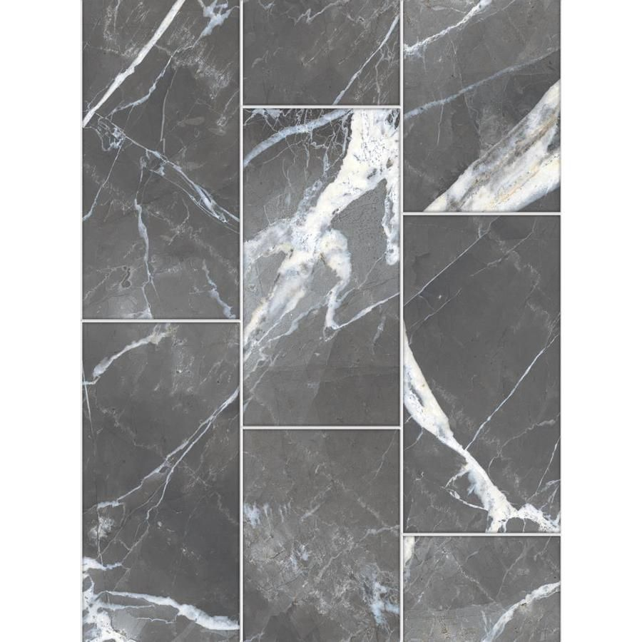 True Porcelain Co Calacatta Black Polished 12 In X 24 In Polished Porcelain Marble Look Floor And Wall Tile Lowes Com Floor And Wall Tile Black Porcelain Tiles Wall Tiles