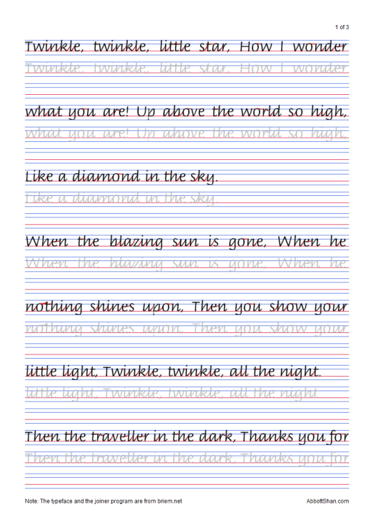 Twinkle Twinkle Little Stars Italic Handwriting Worksheets ...