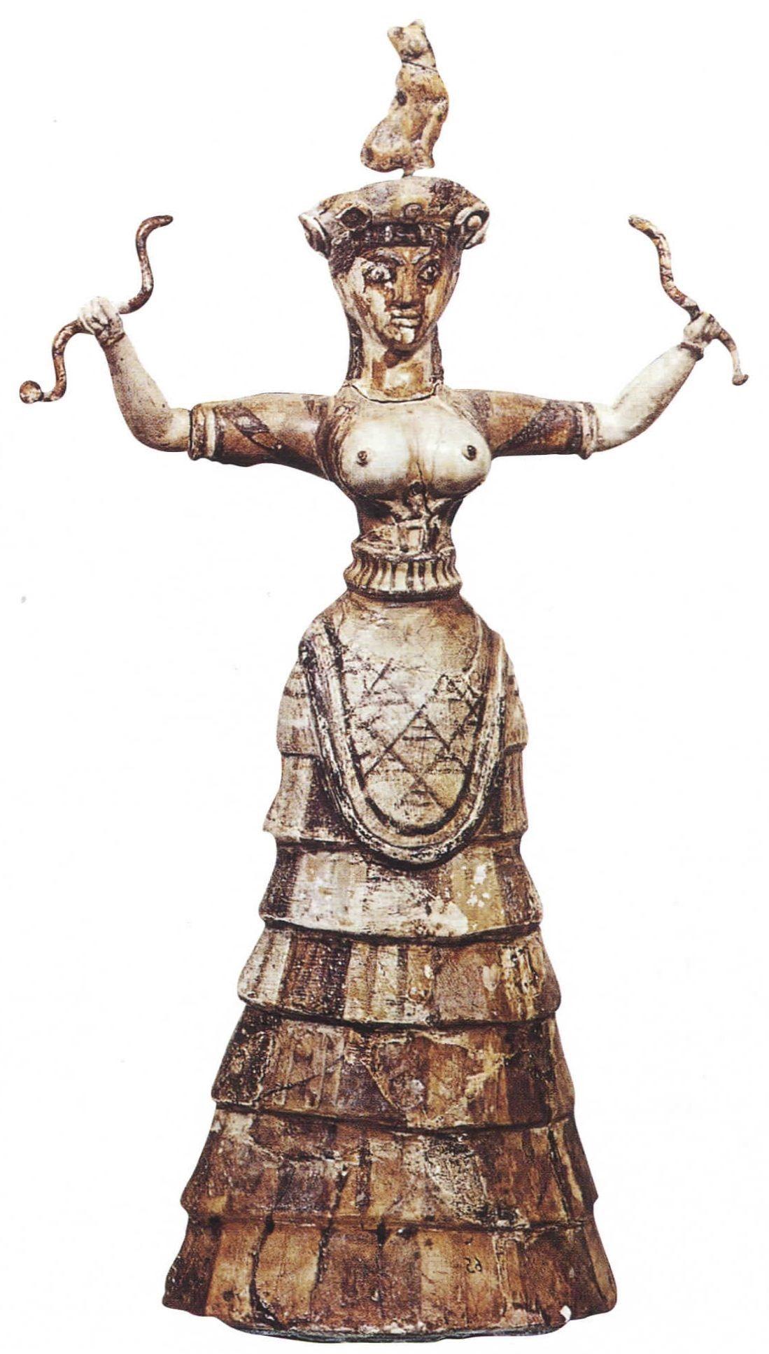 La dea dei serpenti, Minoico Medio, 1550 a.C. circa Iraklion, Museo Archeologico. È in rapporto al culto della Grande Madre che va l'opera come la celeberrima Dea dei serpenti, protettrice della casa e divinità dell'abbondanza, con gli occhi spalancati, terrificanti, e la bocca socchiusa per l'imminente attacco. Databile al 1550 a.C.