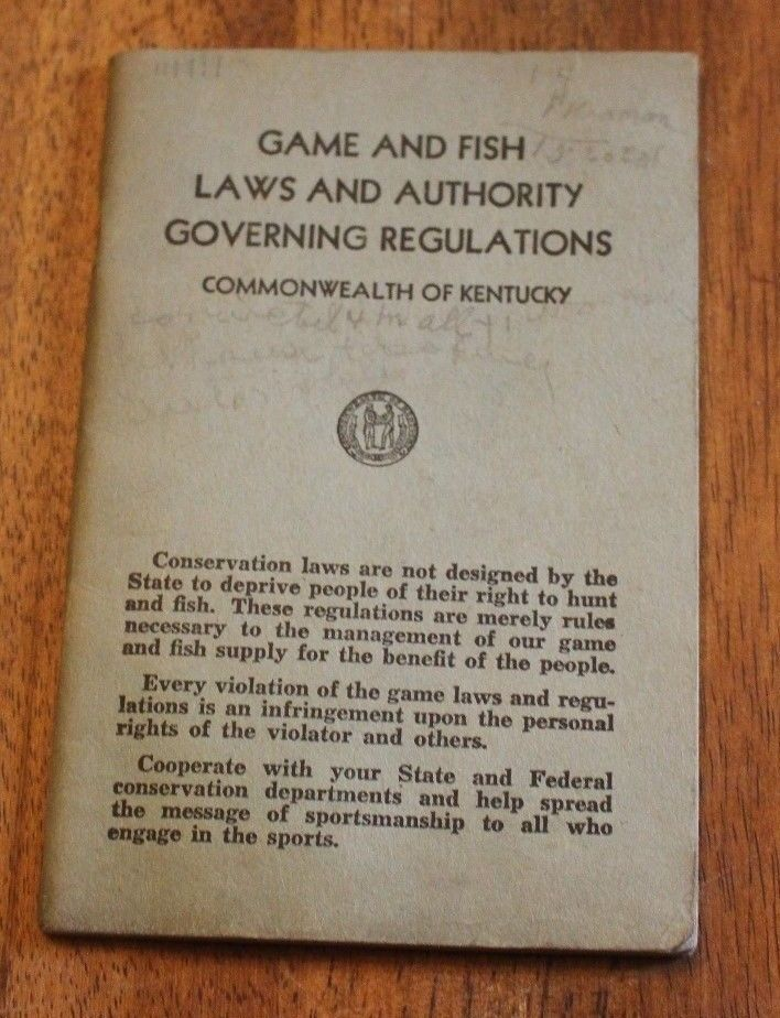 Antique 1948 Game & Fish Laws Authority Governing Regulations Kentucky Book #281