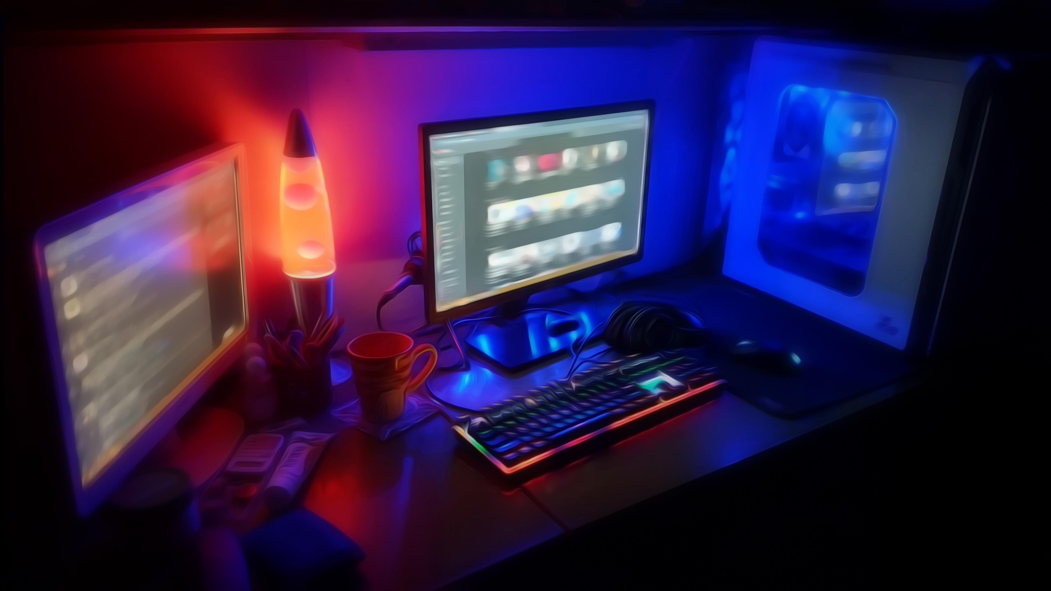 Computer Desk 4k Wallpaper Computer Computer Wallpaper Pc Desk
