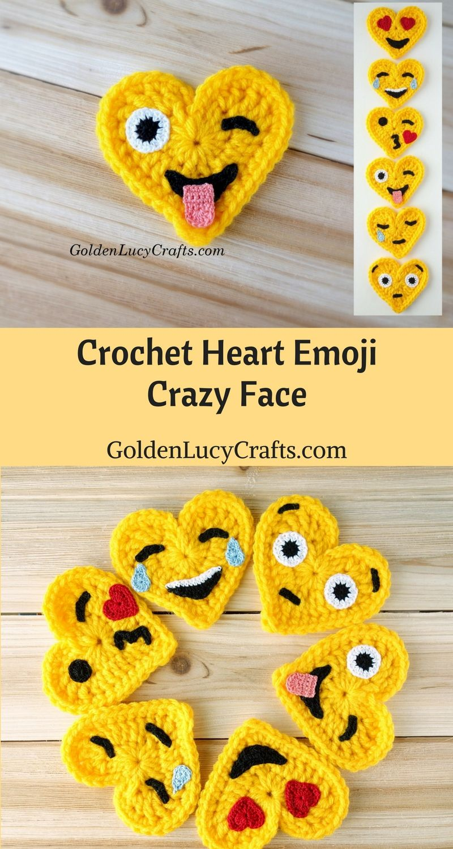 Crochet Emoji Crazy Face Emoji Free Crochet Pattern Valentines