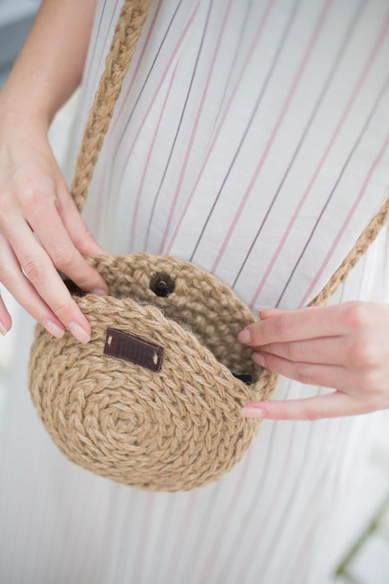 Photo of Crochet Crossbody Bag, Round Woven Bag by POLE