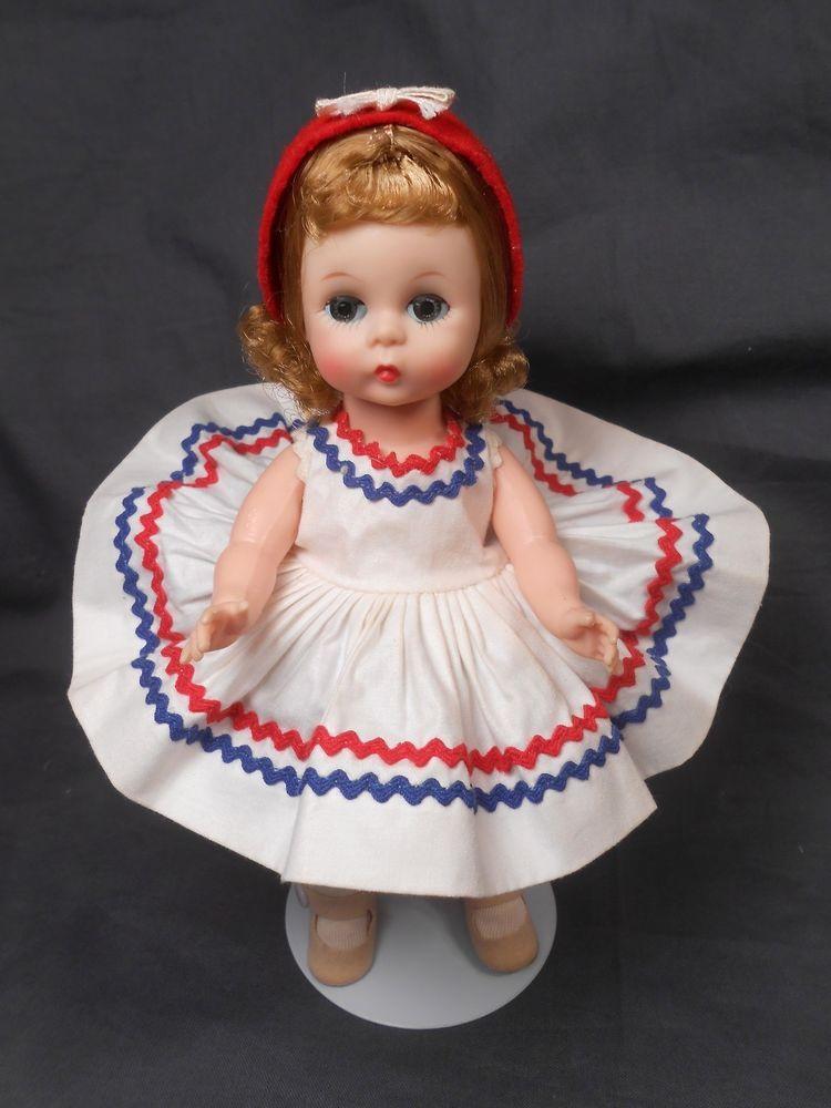 Madame Alexander Red /& White Beanie  Hat w//elastic  for 8/'/' Dolls,