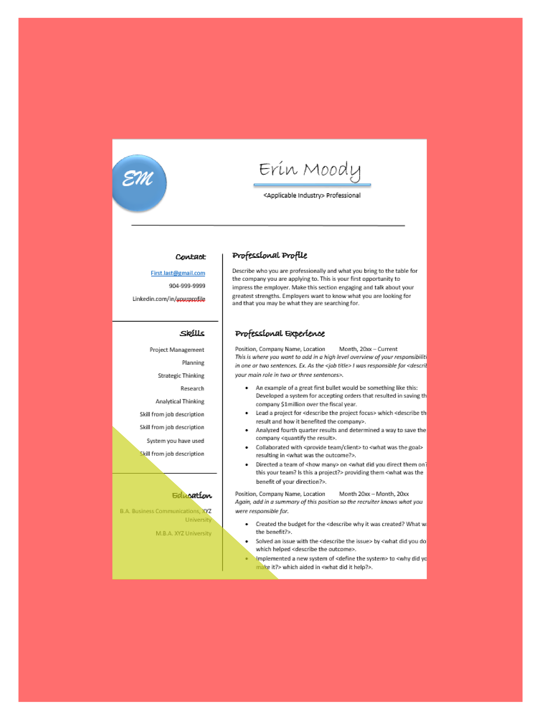 help your resume stand out in the black hole this template includes